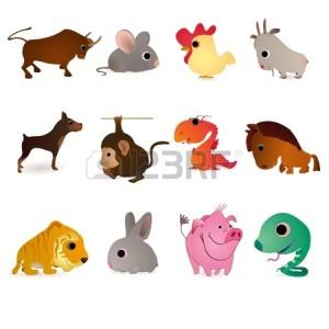 13807188-Набор-из-двенадцати-животных-в-качестве-символов-вост�